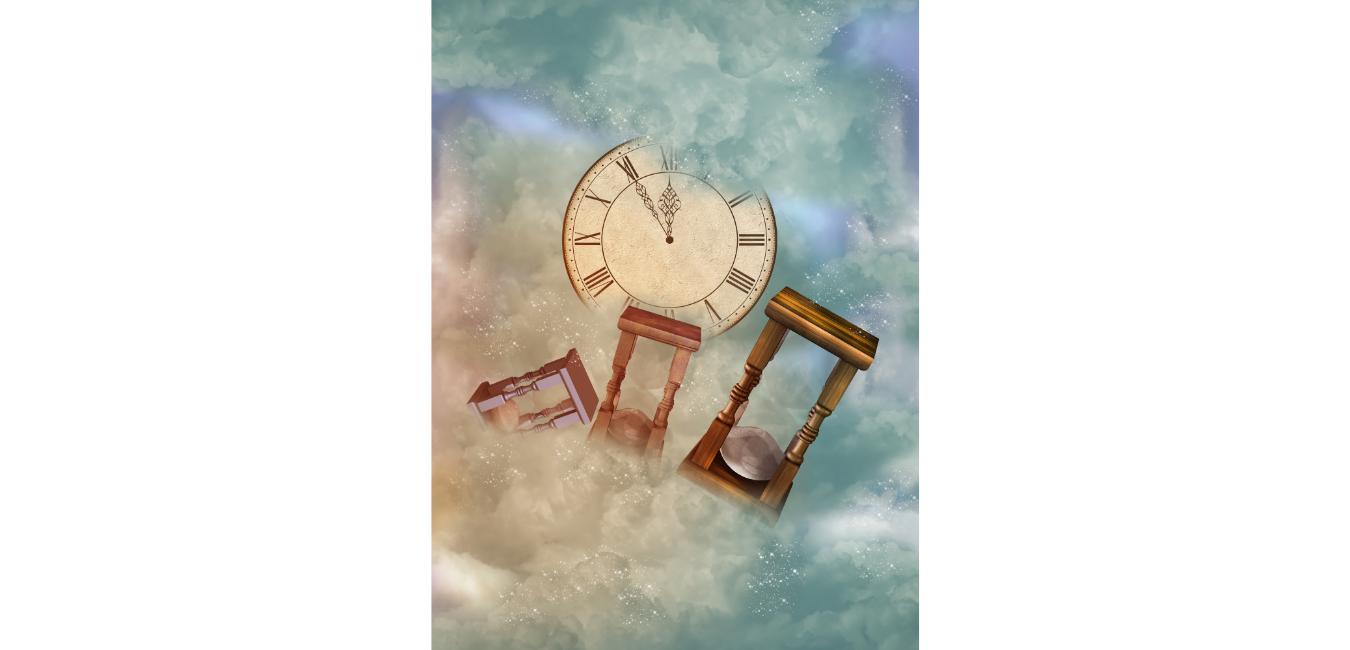 tre clessidre ed un orologio